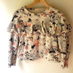 Rebecca Taylor ruffled crop sweatshirt